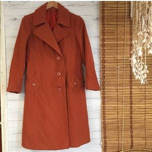 Vintage - Wool Pea Coat Fitted Jacket Lined Long